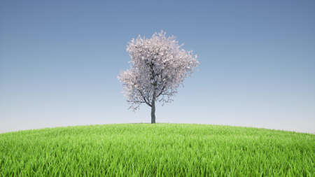 Beautiful growing tree hill against cloudy sky Green grass landscape 3d render