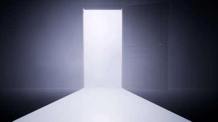 Door opening Right choice Business success concept dark room white door 3d render