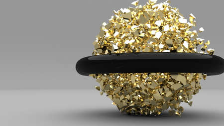 Explosion golden cube and black torus 3d blob effect gold Super Slow motion 1000FPS 3d render