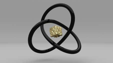 Gold cube black knot rotate stylish minimalistic design 3d render Standard-Bild