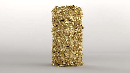 Explosion golden construction column on gray background Gold bokeh particles Concept art 3d render