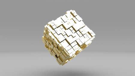 3d Gold cube rotate Modern business template 3d render Foto de archivo - 166146434