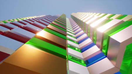 Modern futuristic facade building Urban city Skyline town 3d render
