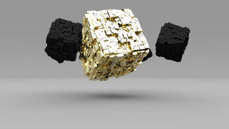 Explosion golden cube in 3d style on grey background Gold dust 3d render