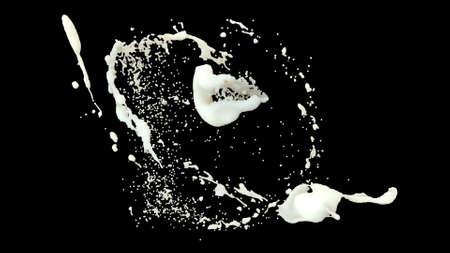 Milk drops collide to form splashes on black background 3d render