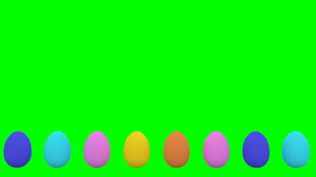 Easter eggs jumping on green background 3d render