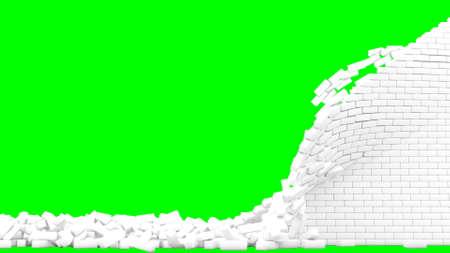 White brick wall destruction collapsing on green background 3d render