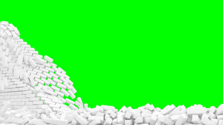 Destruction white brick wall green surface 3d render Foto de archivo