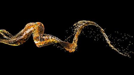 3d yellow beer stream Liquid splash on black 3d render
