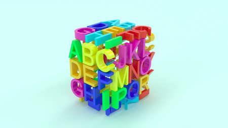 3d assembling cube Science cryptology stylish minimalistic design 3d render Foto de archivo