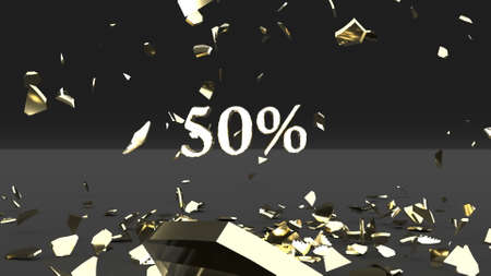 Golden egg explosion 50 percent discount 3d render
