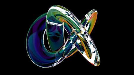 Modern 3d colorful gradient knot on black concept design Futuristic technology 3d render Foto de archivo