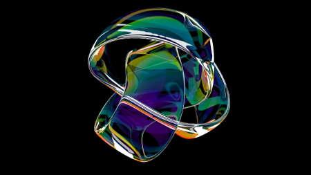 Rainbow knot Minimal motion Concept: business Modern 3d render Foto de archivo