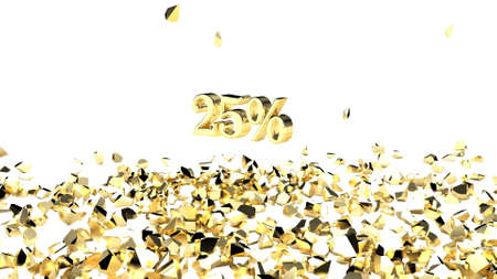 Explosion gold cube 25 percent discount 3d render