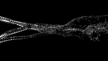 Clear jet of water Nature liquid stream on black 3d render