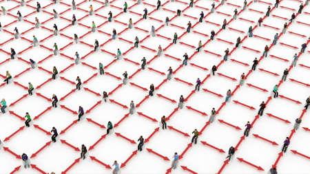 Social distance of sit people red arrows Corona virus 3d render