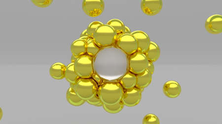 3d soft body gold simple spheres Minimal animation design Trendy colors liquid balls levitation 3d render