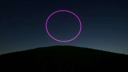Portal ring neon on starry night sky Space landscape 3d render
