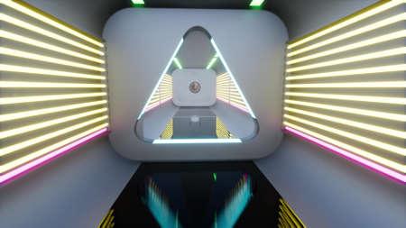 3d techno tunnel Future technology Digital metal neon corridor 3d render