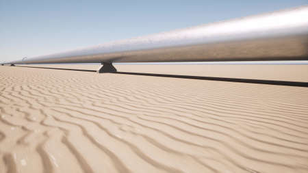 Aerial landscape with metal pipeline in the sand desert 3d render