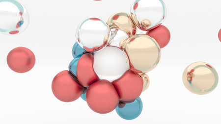 Modern metal elastic color spheres soft body colliding with a magnet 3d render Zdjęcie Seryjne