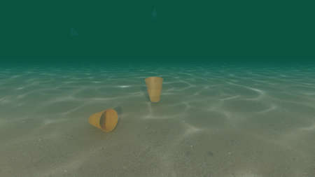 Plastic garbage environmental pollution problem yellow cup 3d render