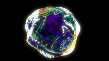 The holographic sphere in 3d style abstract shapes fluid move and iridescent reflections 3d render Stok Fotoğraf