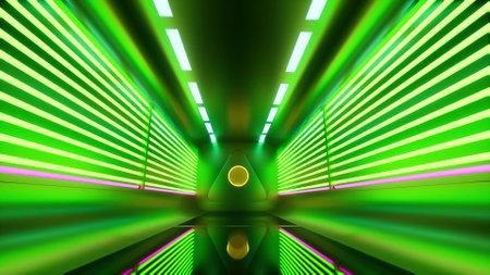 Neon Futuristic corridor Digital design concept technology light tunnel 3d render Foto de archivo - 167952171