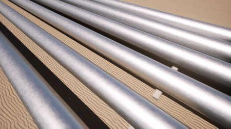 Aerial landscape oil pipe Industrial technology Nature sand desert 3d render Foto de archivo - 167952174