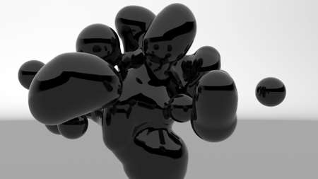 Black metaballs Fluid art Motion graphics stylish minimalistic design 3d render