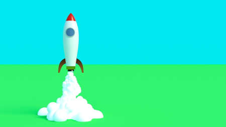 Rocket launch for marketing design Space exploration Startup new business project Success concept 3d render Zdjęcie Seryjne