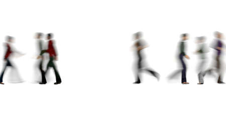 Blur crowd of people Busy Outdoor walking Rush hour 3d render