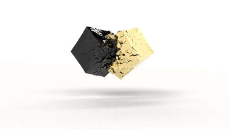 Gold and black cubes collide to form many shards 3d render