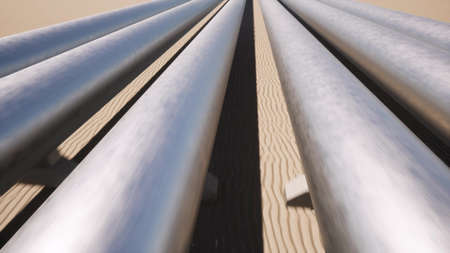 Oil and gas metal pipeline in the desert landscape Petroleum technology 3d render
