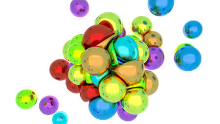 Colorful Metal balls collide under the action of a magnet soft body physics 3d render Stok Fotoğraf