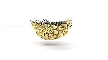 Gold and black sphere colliding to form gold blast shards 3d render Foto de archivo - 167952197