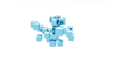 Blue metal Cube assembler stylish minimalistic design 3d render Foto de archivo