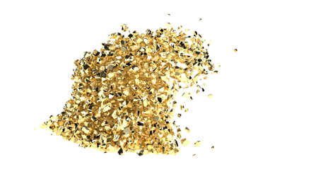 Collision of golden dust rock isolated on white many gold pieces 3d render