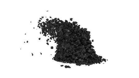 Black collision of stones in 3d style on white 3d render Foto de archivo
