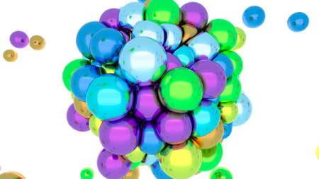 Metal balls Soft body physics elastic sphere Digital design concept 3d render Foto de archivo