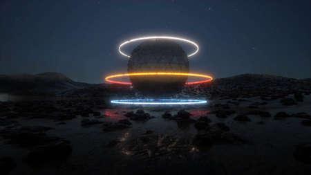 3d neon futurist object on rain planet Modern technology sci fi 3d render Foto de archivo