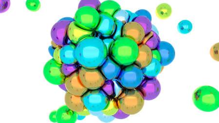 Soft body physics vivid elastic metal balls collide with an iron heart 3d render