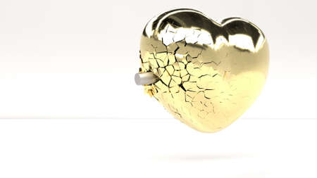 The bullet hits the heart of gold and breaks it into small pieces 3d render