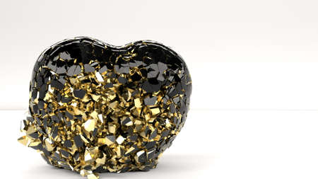 The bullet hits the heart and shatters it into a thousand pieces Romantic relationship 3d render