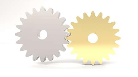Metal gold gear wheel Industrial technology concept 3d render Foto de archivo