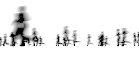 Crowd of blurred people network concept City life on white 3d render Zdjęcie Seryjne