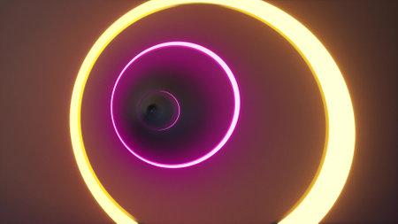 Neon long circle tunnel in 3d style color futuristic lights 3d render Foto de archivo - 168377904