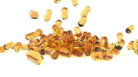 Vitamin oil capsules pills fall on white serum through the skin 3d render