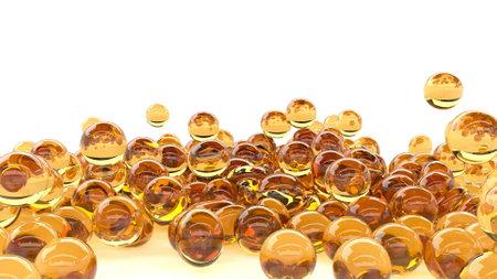 Organic food yellow Caviar fall on white Health care oil fish macro style 3d render Foto de archivo