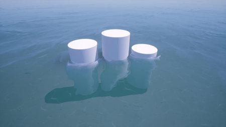 Empty 3d mockup podium scene in the sea water stylish minimalistic design 3d render